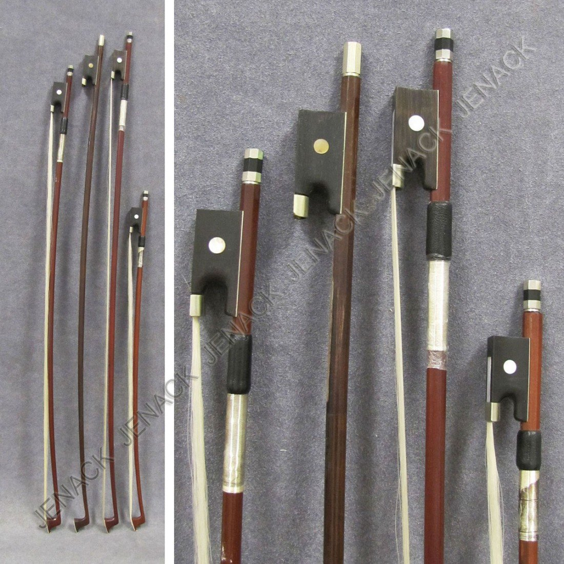 18: LOT (4) ASSORTED SILVER MOUNTED VIOLIN BOWS