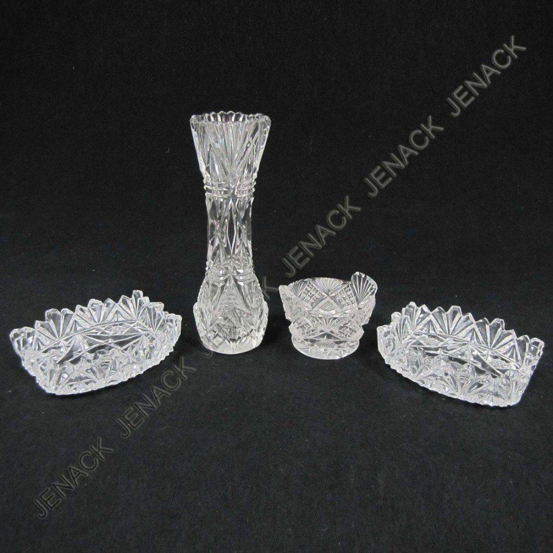 5: LOT (4) CUT GLASS SALESMAN'S SAMPLES