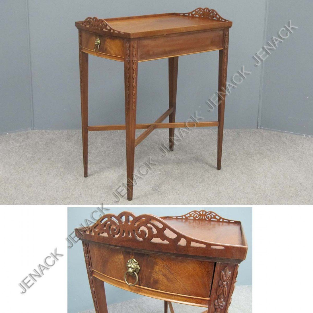7: REGENCY STYLE CARVED MAHOGANY SINGLE-DRAWER STAND