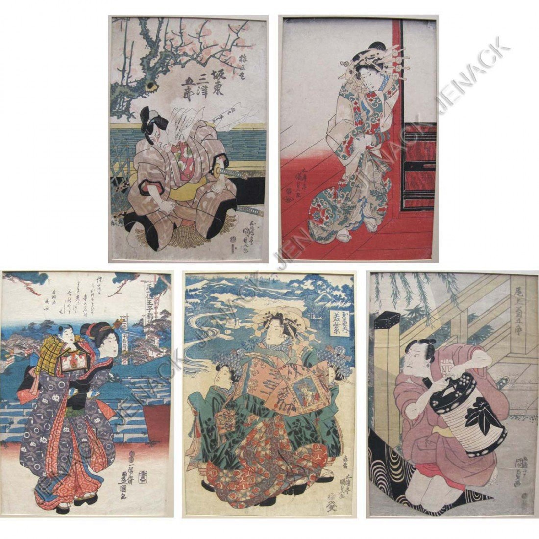 10: LOT (5) ASSORTED JAPANESE COLORED WOOD BLOCK PRINT