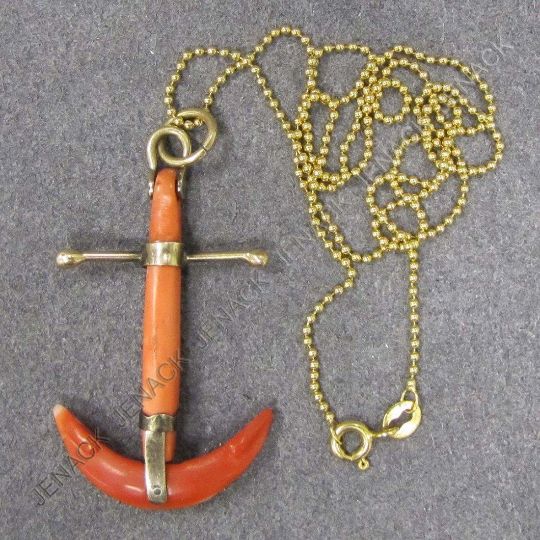 24: VICTORIAN YELLOW GOLD & CORAL ANCHOR FOB