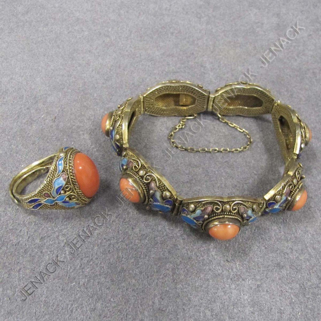 93: CHINESE STYLE GILT SILVER RING & BRACELET