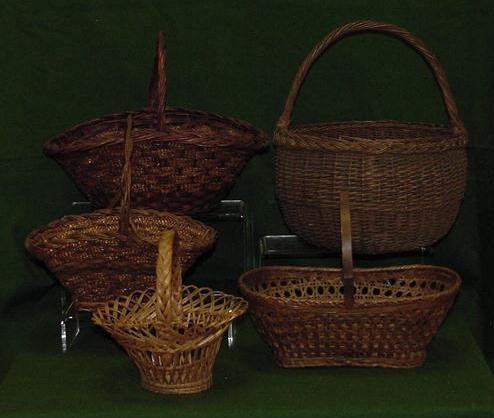 1002: LOT (5) ASSORTED BASKETS WITH EASTERN WOODLANDS