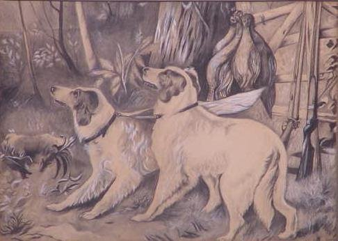 1020: CHARCOAL/GOUACHE, HUNTING DOGS