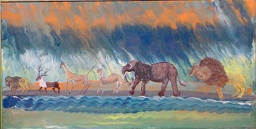 1022: OIL ON PANEL, ANIMAL PARADE, SIGNED DEL FAVERO