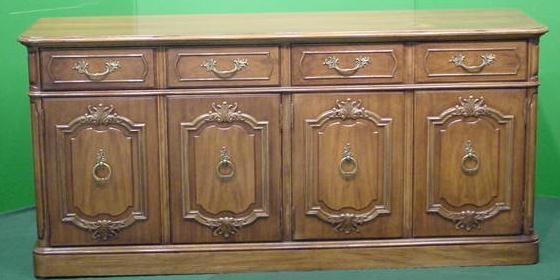 1023: FRENCH PROVINCIAL STYLE CARVED WALNUT CREDENZA