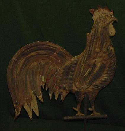 1322: PAINTED COPPER FULL BODIED ROOSTER WEATHER VANE