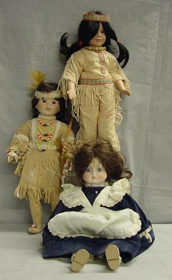 1023: LOT (3) BISQUE CHARACTER DOLLS INDIANS