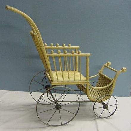 1024: VINTAGE WOODEN DOLL BUGGY