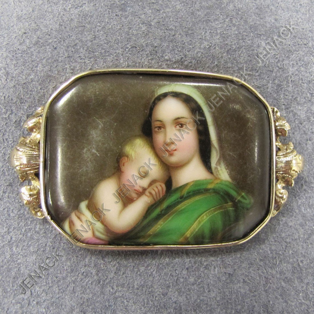 4: ANTIQUE YELLOW GOLD FRAMED PORCELAIN PLAQUE