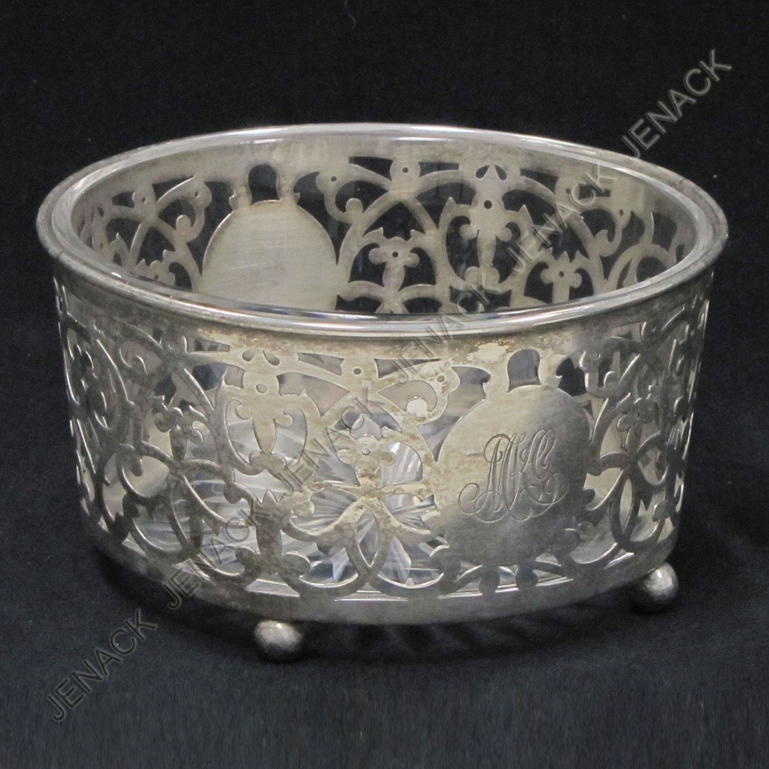 14: GORHAM STERLING AND CUT GLASS FOOTED SERVING DISH