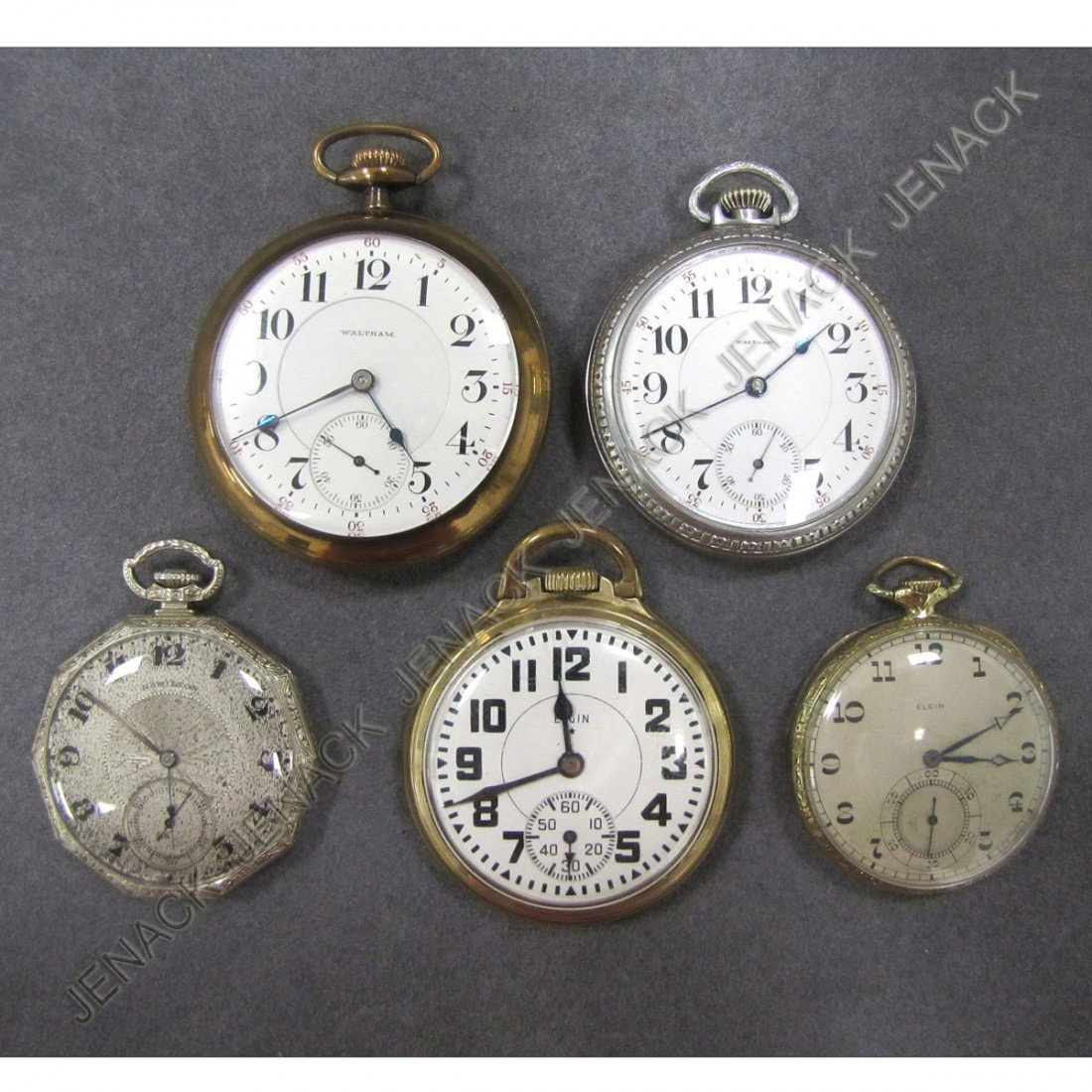 16: LOT (5) ASSORTED VINTAGE OPEN FACE POCKET WATCHES