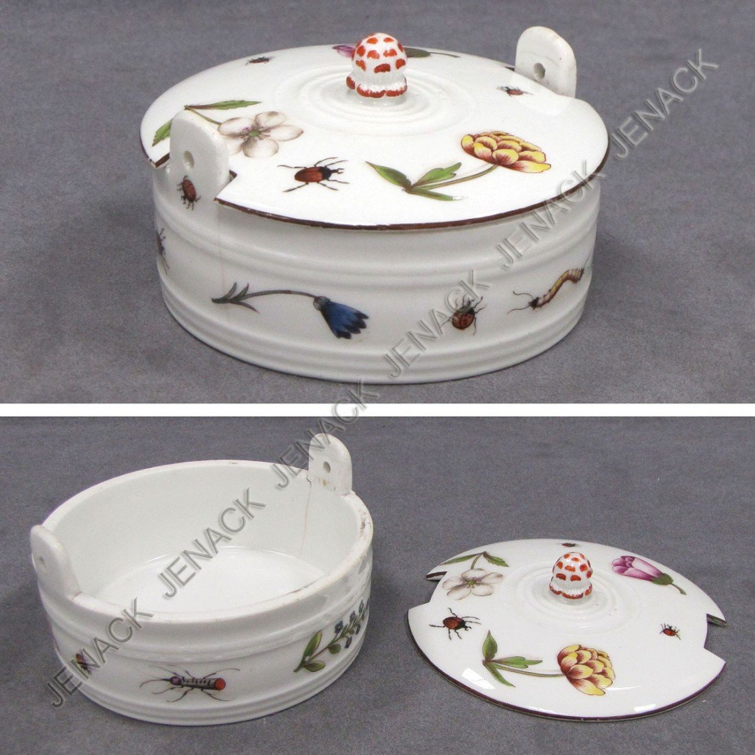 20: MEISSEN DECORATED PORCELAIN COVERED BUTTER TUB