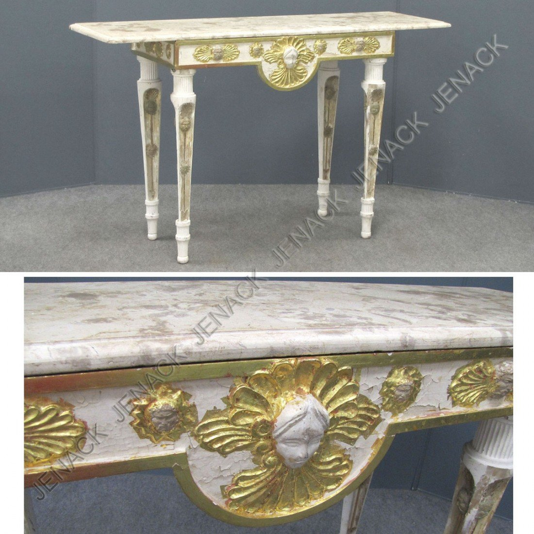 23: LOUIS XV STYLE CARVED, PAINTED & GILT MARBLE-TOP