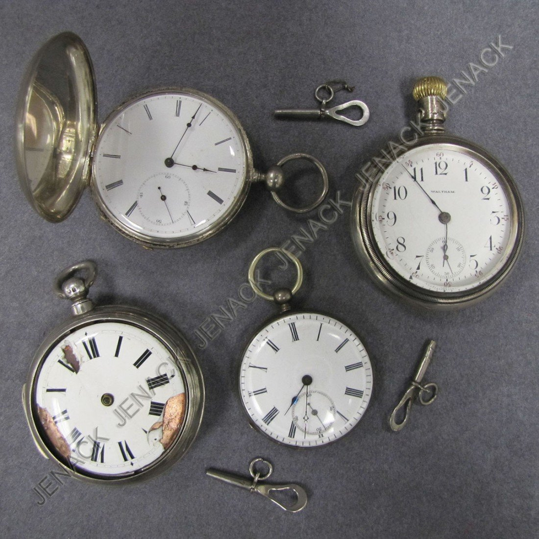 5: LOT (4) ASSORTED SILVER POCKET WATCHES