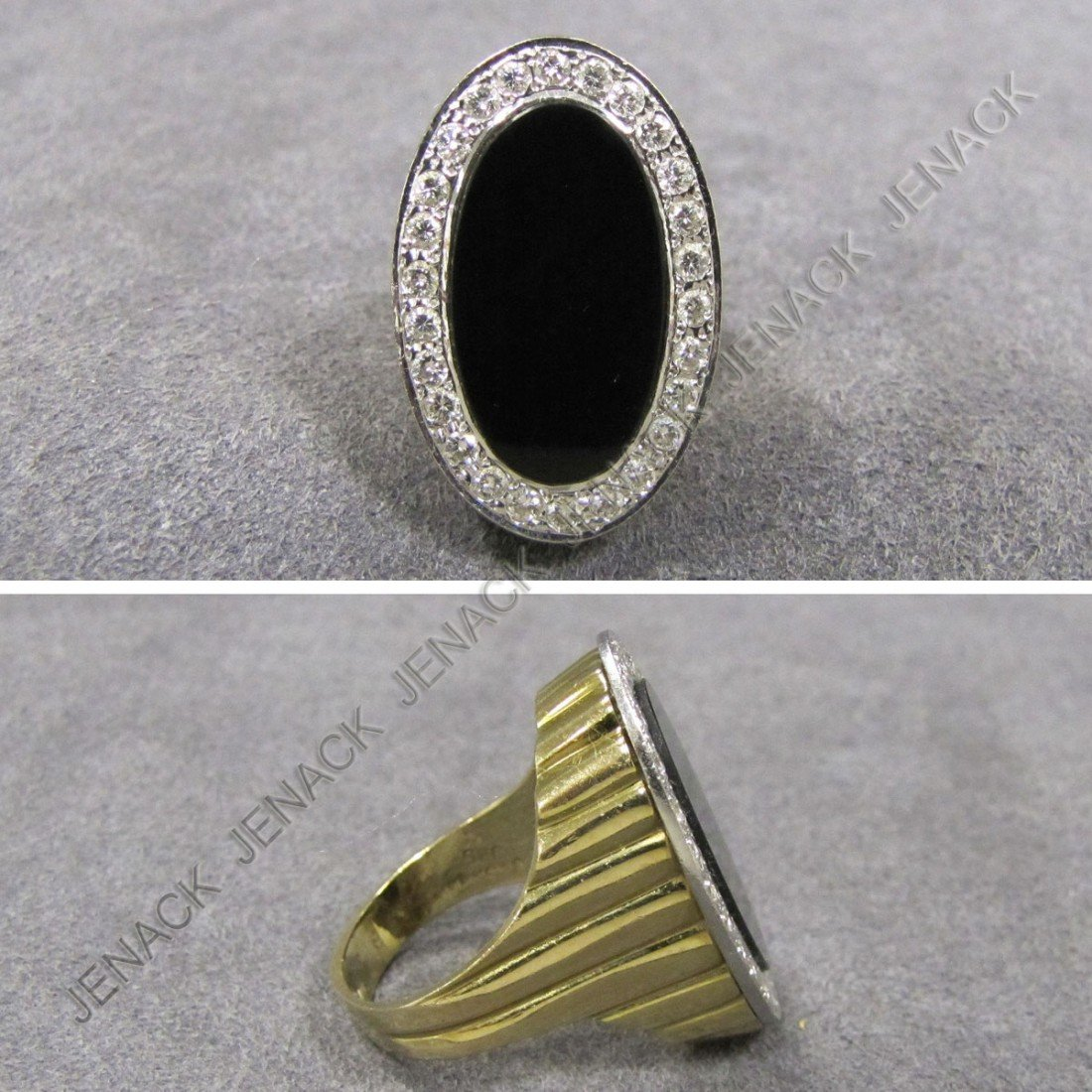 16: 14K ONYX AND DIAMOND OVAL RING