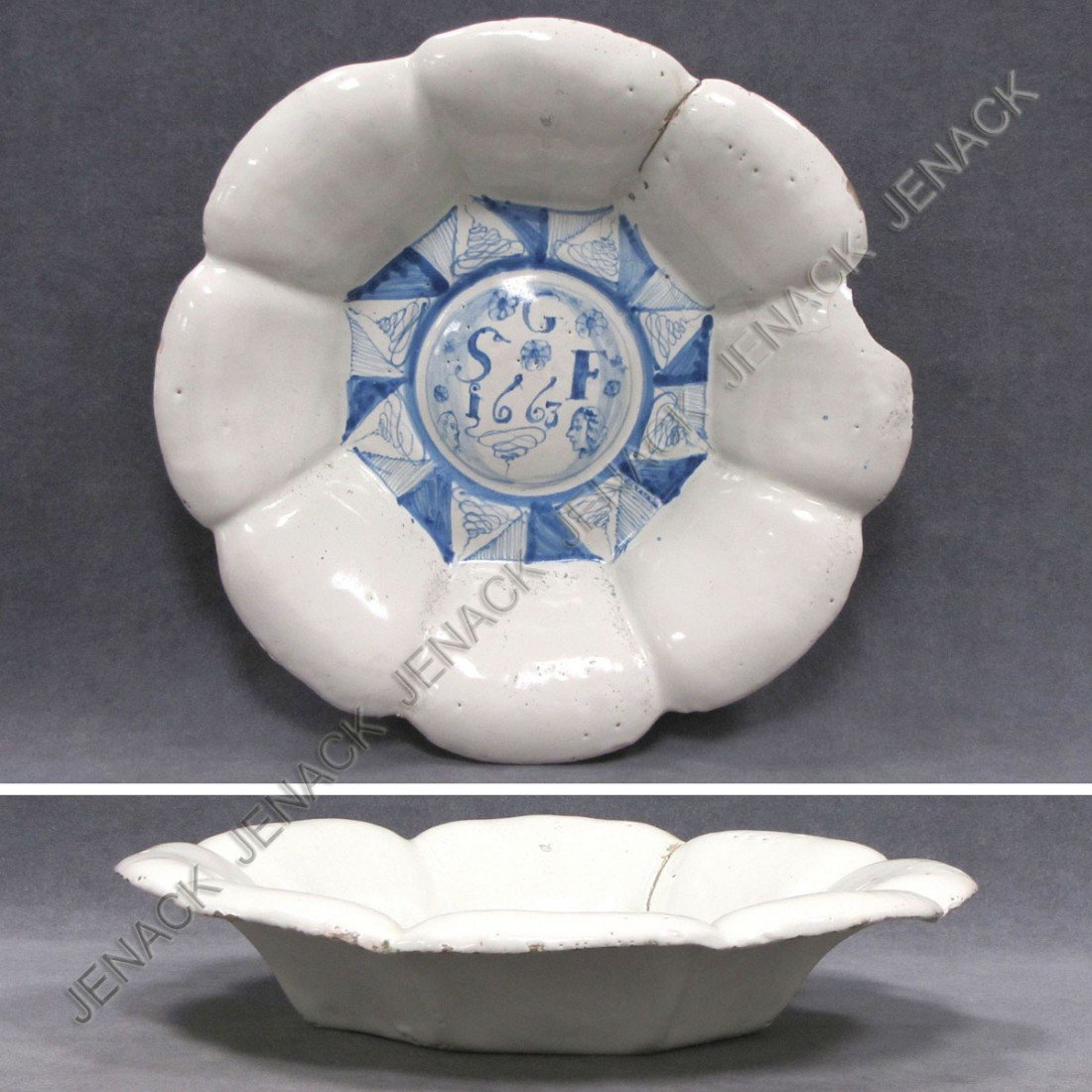 22: ENGLISH DELFT LOBED BOWL, C.1663