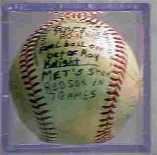 1986 METS SEASON GAME BALL SIGNED
