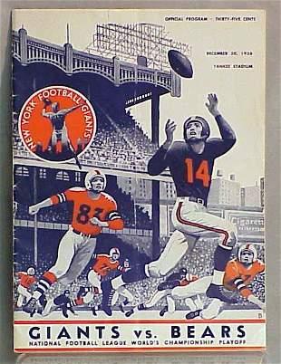 LOT (3) 1956 GIANTS/BEARS PROGRAMS ETC