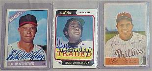 LOT (3) AUTOGRAPHED BASEBALL CARDS