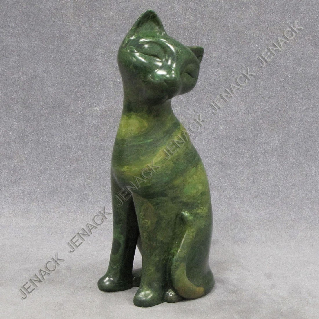 4: CARVED GREEN SOAPSTONE CAT, SIGNED J. MASANCA