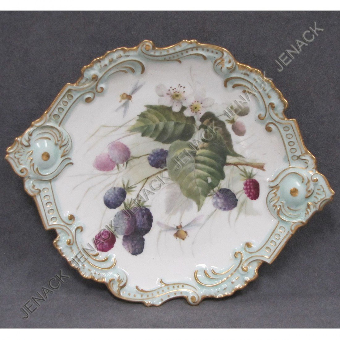9: FRENCH LIMOGES DECORATED CAKE PLATE