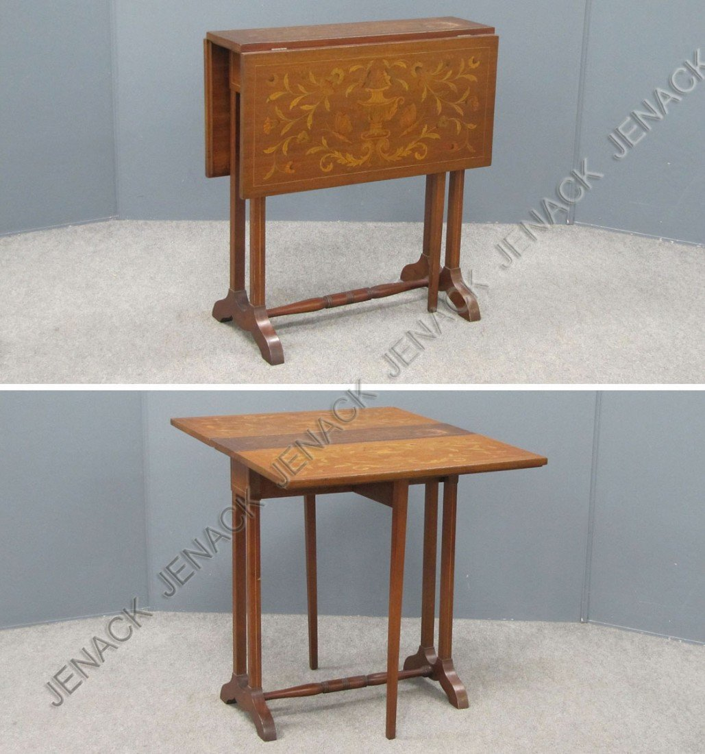 15: CONTINENTAL INLAID MAHOGANY DROP-LEAF TABLE