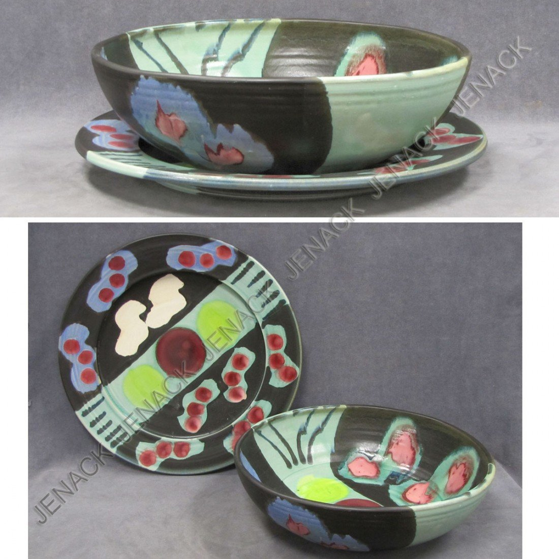 18: AMERICAN ART POTTERY BOWL & UNDERPLATE, SIGNED