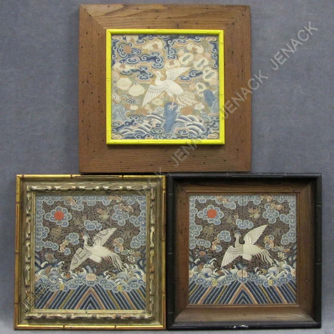 51: LOT (3) CHINESE EMBROIDERED SILK MING SQUARES