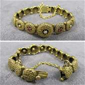 357 VICTORIAN HAMMERED YELLOW GOLD BRACELET