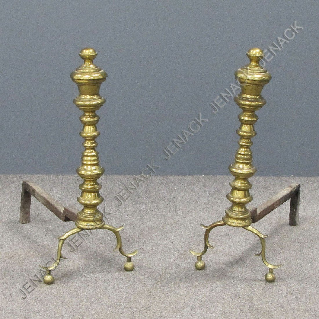 7: PAIR FEDERAL TURNED BRASS ANDIRONS
