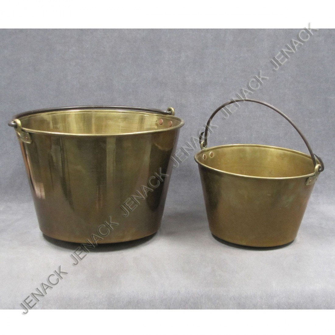 11: LOT (2) ANSONIA SPUN BRASS JELLY PAILS, SIGNED