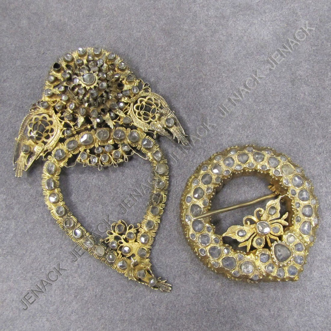 12: LOT (2) ANTIQUE GILT SILVER BROOCHES