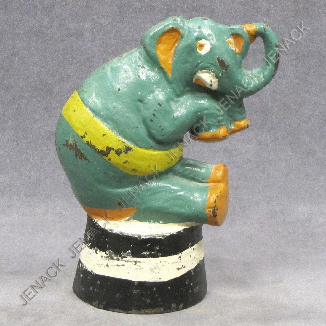 13: VINTAGE TAYLOR COOK #2 CAST IRON PAINTED ELEPHANT