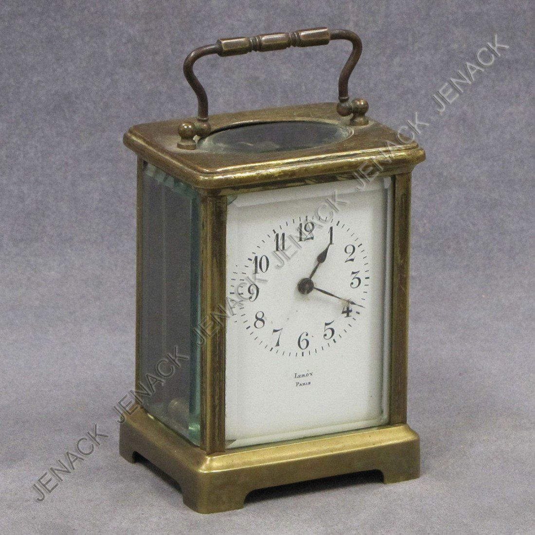 14: FRENCH BRASS CARRIAGE CLOCK, SIGNED LEROY PARIS