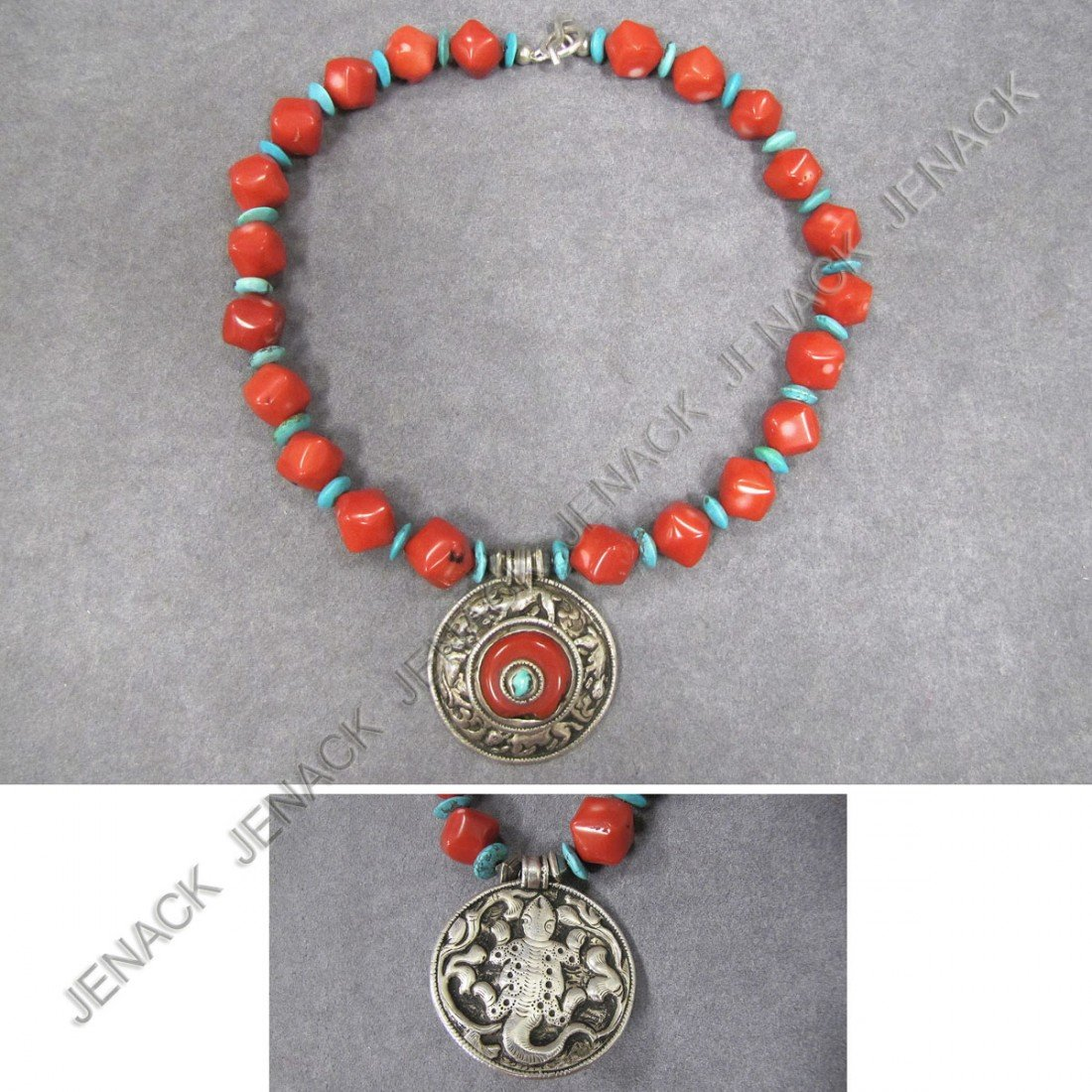 21: MODERN DESIGN RED CORAL & TURQUOISE BEAD NECKLACE