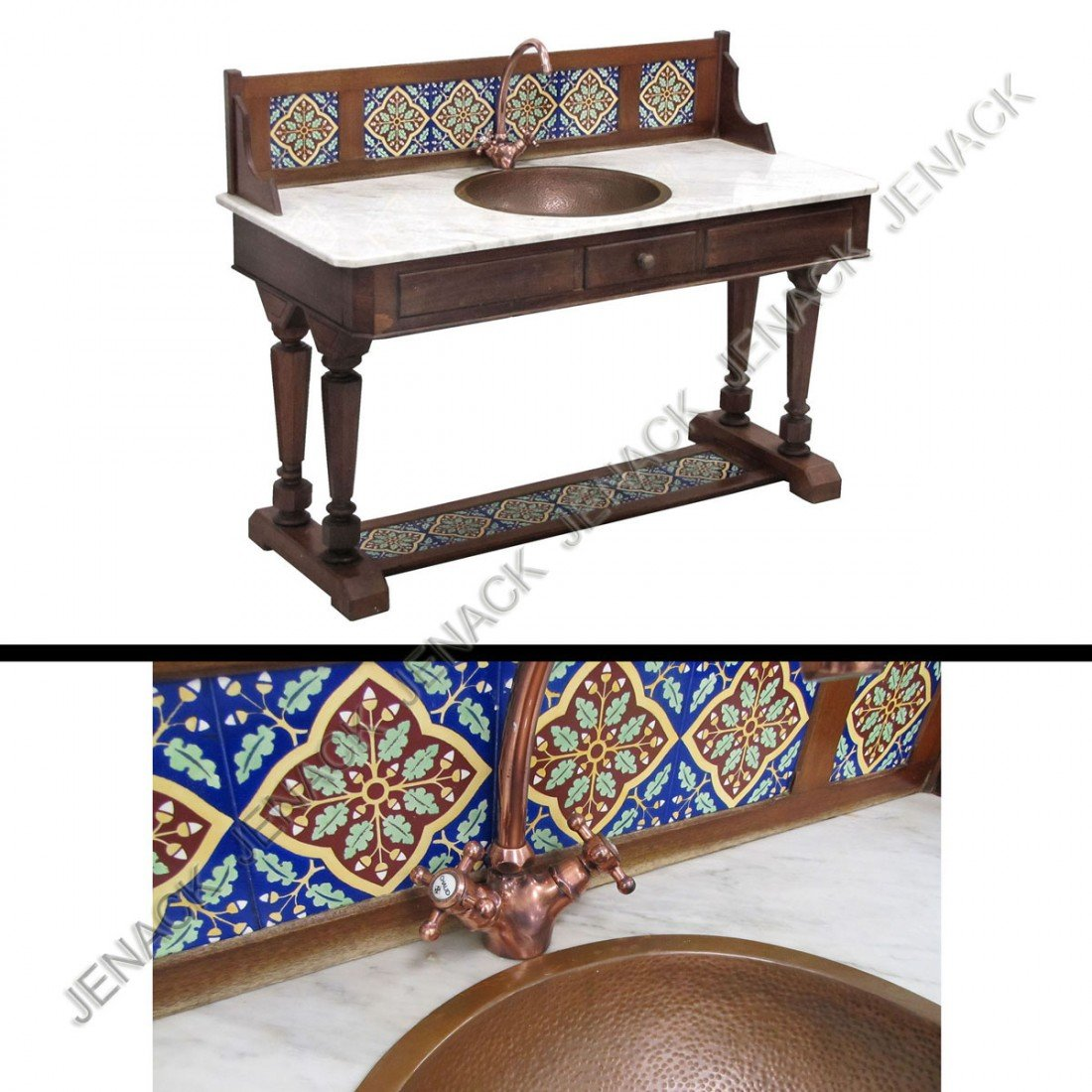 23: EDWARDIAN ARTS AND CRAFTS MARBLE TOP COPPER SINK