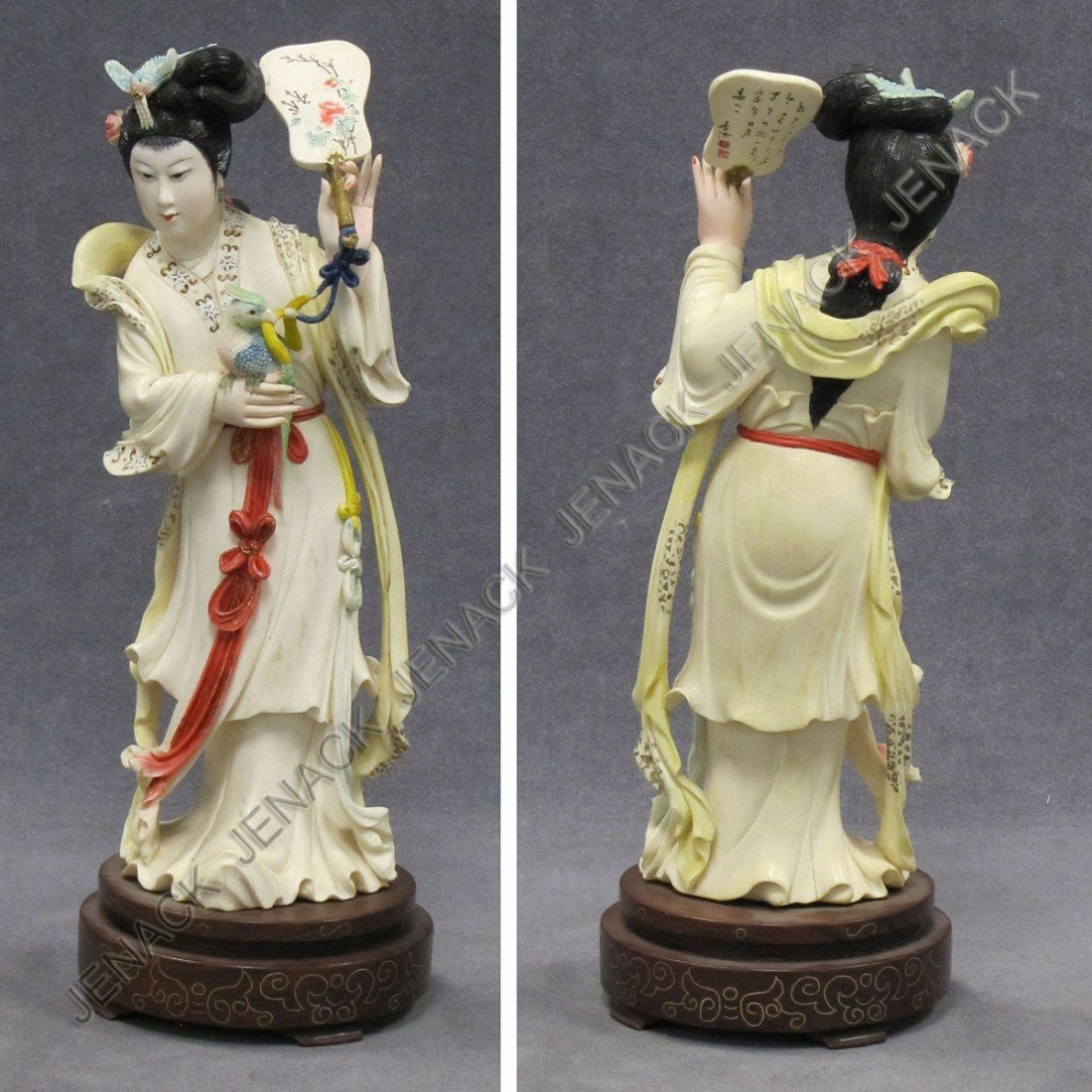 94: CHINESE CARVED/STAINED IVORY FIGURE OF A WOMAN