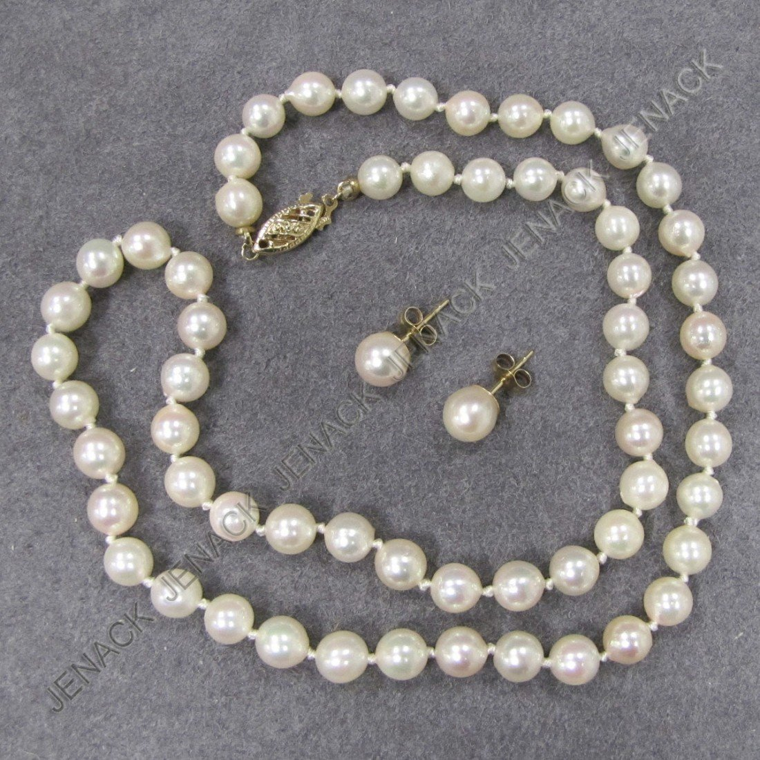 11: SET 14K GOLD & PEARL NECKLACE AND EARRINGS