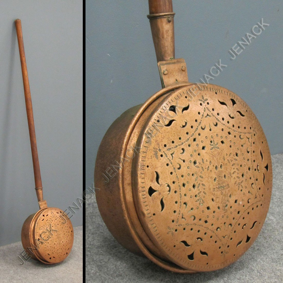 13: ENGLISH PIERCED AND ENGRAVED COPPER BED WARMER