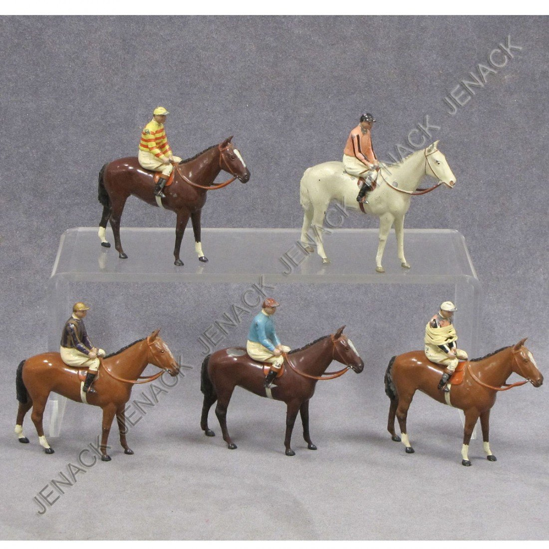 18: SET (5) VINTAGE ENGLISH CAST LEAD PAINTED HORSES