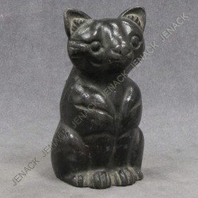 VINTAGE CAST IRON DOORSTOP, BLACK SITTING CAT
