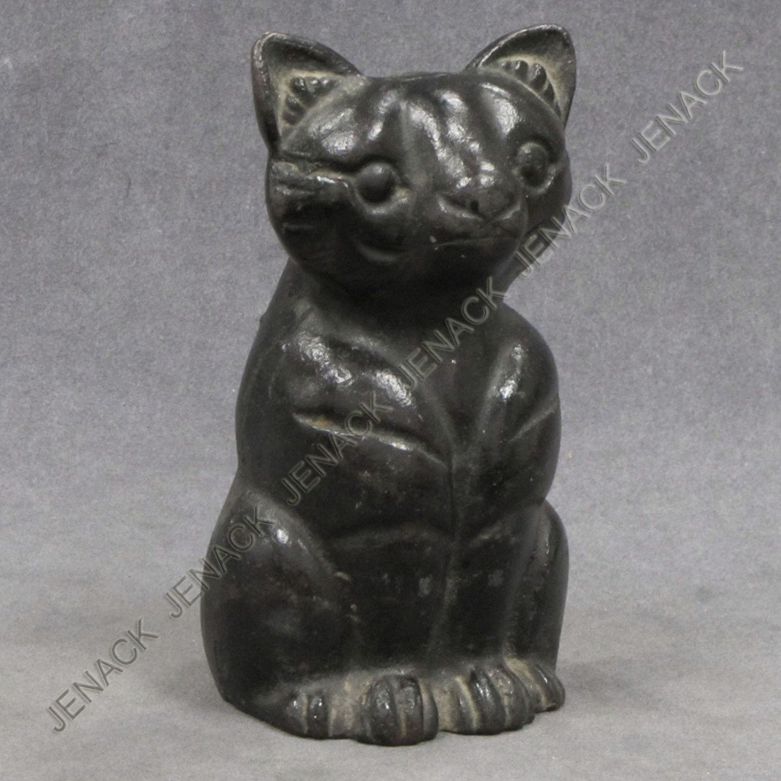 52: VINTAGE CAST IRON DOORSTOP, BLACK SITTING CAT