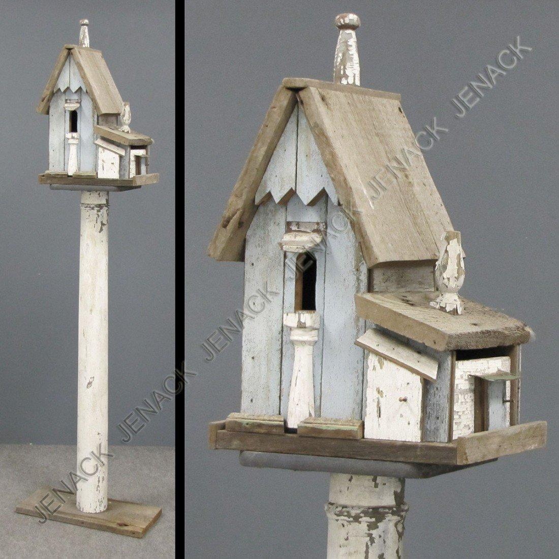 53: VINTAGE FOLK ART PAINTED COTTAGE BIRD HOUSE