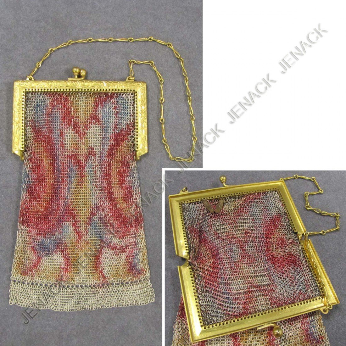 54: VINTAGE ART DECO STAINED MESH HAND BAG