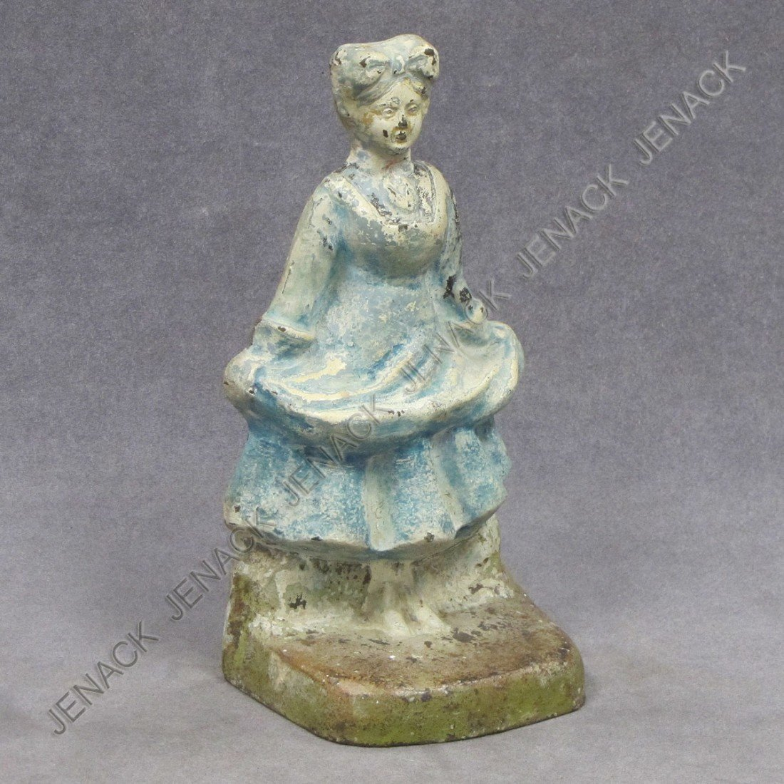 62: VINTAGE CAST IRON PAINTED DOORSTOP, BLUE LADY