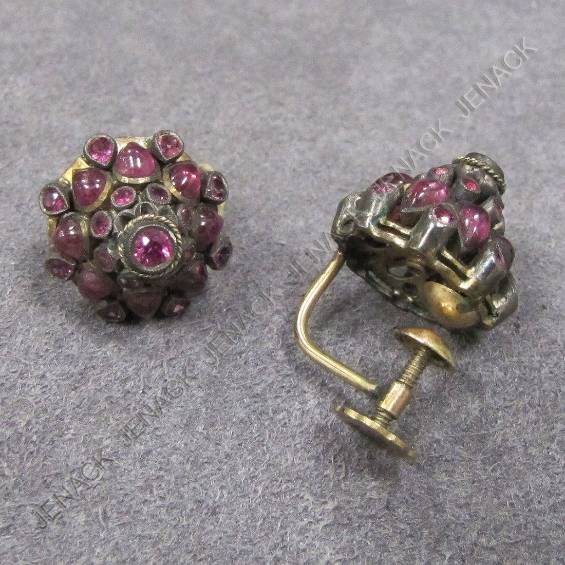 72: GOLD, SILVER AND PINK SAPPHIRE EARRINGS