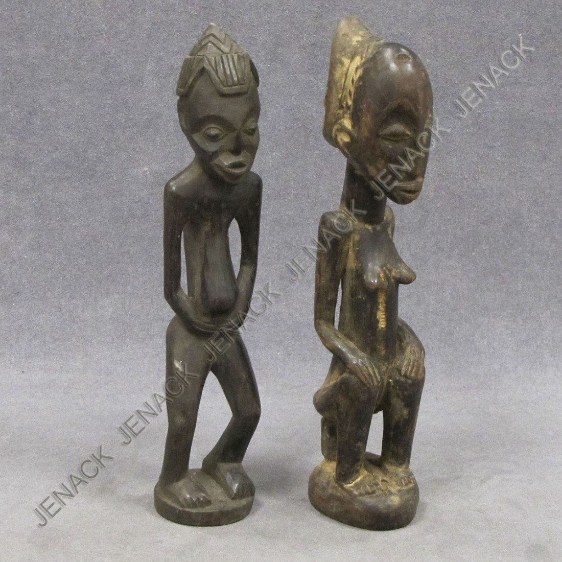 8: LOT (2) SENUFO CARVED WOOD MALE AND FEMALE FIGURES