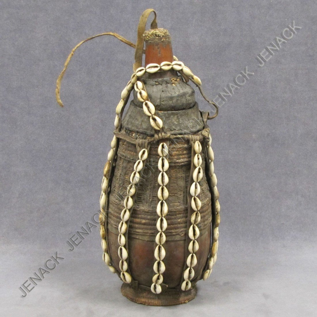12: ETHIOPIAN GOURD LEATHER AND BASKETRY PILGRIM FLASK