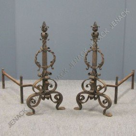PAIR RENAISSANCE STYLE WROUGHT IRON ANDIRONS